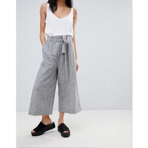 tailored wide leg trouser with tie waist - grey, Pull&bear