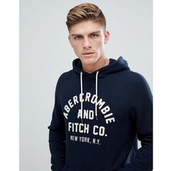 large front flock logo hoodie in navy - navy marki Abercrombie & fitch