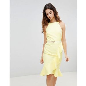 Paper Dolls Sleeveless Ruffle Detail Dress With Belt - Yellow, kolor żółty