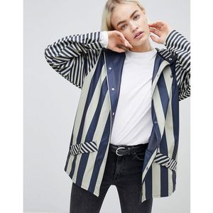 Rains Short Distorted Stripe Rain Jacket - Navy, w 4 rozmiarach