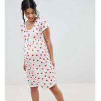 & you nursing knot front tea dress with tie front in multi spot - multi
