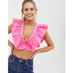Glamorous wrap front crop top with ruffle detail - pink