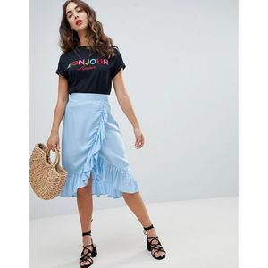 ruffle wrap midi skirt - blue marki New look
