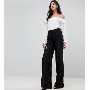Glamorous Tall Wide Leg Trousers With Sheer Star Embroidery - Black