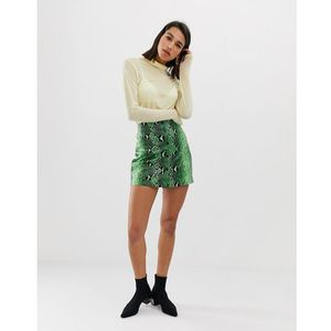 snake mini skirt pu in green - green, Stradivarius