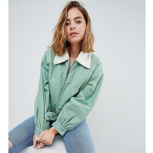 ASOS PETITE Utility Jacket with Borg Collar - Green, kolor Green