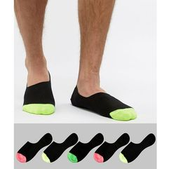 ASOS DESIGN Invisible Liner Socks In Black With Neon Toes 5 Pack - Black