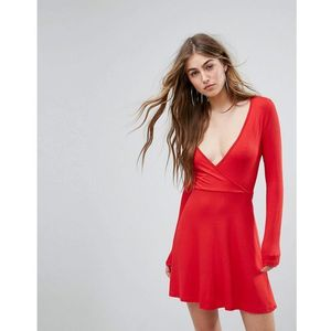 Missguided Wrap Skater Dress - Red, kolor czerwony