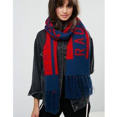 Monki Radical Chic Slogan Scarf - Navy