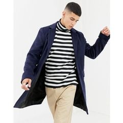 Another influence wool blend overcoat - navy