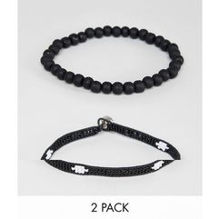 2 pack aztec style beaded bracelet pack - black marki Asos design