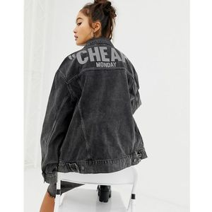 Cheap Monday reflective logo denim jacket with recycled polyester & organic cotton - Black, kolor Black