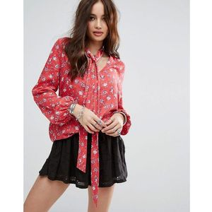relaxed blouse with tie neck in vintage floral - red, Honey punch