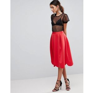scuba prom skirt with scallop hem - red, Asos