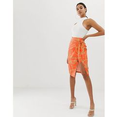 4th + reckless 4th & reckless wrap chain print knot front skirt in orange - multi