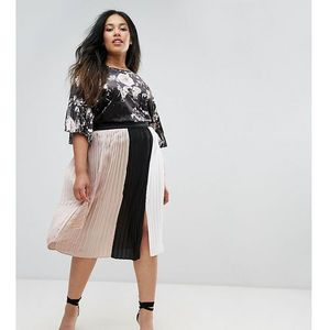 pleated colour block skirt with split detail - multi, Elvi