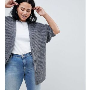 ASOS DESIGN Curve oversize cardigan in chunky rib with buttons - Grey, kolor szary