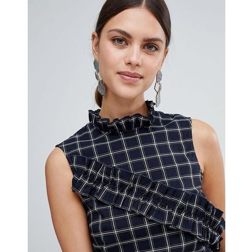 Y.A.S Salu Windowpane Check Ruffle Front Top - Black