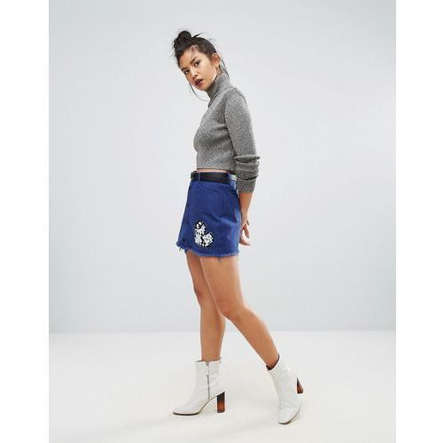 Ziztar Build Your Love Around The World Embroidered Mini Skirt - Navy