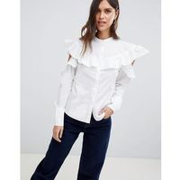 Vila frill cold shoulder woven top - white