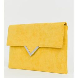 Accessorize bright yellow foldover v bar clutch bag - yellow