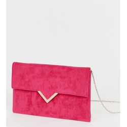 Accessorize bright pink foldover v bar clutch bag - Pink, kolor różowy
